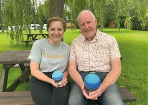 Alan and Pamela Walton, the owners of Long Hazel Park, with the Bath, Bristol and Somerset Tourism awards (photo courtesy of Long Hazel Park)