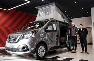 Josh Tyerman, Local Business Development Manager, Fleet, and Retail Business Manager Kimmo Blackburn, show-off one of their fully converted NV300 motorhomes at Nissan Leeds