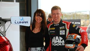 Adam Morgan, Ciceley Motorsport Team and Lea Lawrence, Lunar Caravans Marketing Manager.
