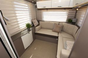 The rear lounge in the Bürstner Lyseo TD Harmony Line 744 motorhome