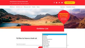 The Exhibitors page on the new website