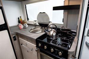 The kitchen in the Benimar Mileo 202 motorhome