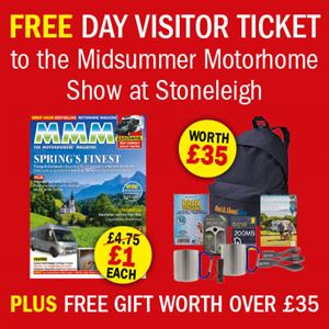 Pre-subscribe to MMM for a free ticket to the Midsummer Motorhome Show, a free gift and five issues. All for £5