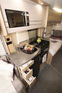 The kitchen in the Elddis Marquis Majestic 185 motorhome