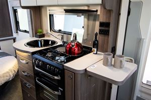 The kitchen in the Marquis Majestic 250 motorhome