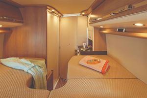 Malibu Van GT640 Motorhome interior with Single Bed Layout