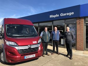 Maple Garage becomes WildAx dealer. From left to right: Phil Burton (Dealer Principle), James Wood (General Manager) and Duncan Wildman (WildAx Managing Director)