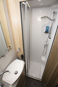 The shower in the Elddis Marquis Majestic 185 motorhome