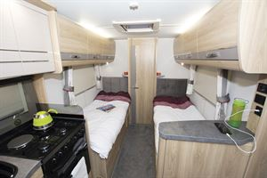Twin beds in the Elddis Marquis Majestic 185 motorhome