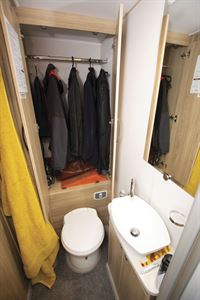The wardrobe in the Elddis Marquis Majestic 185 motorhome
