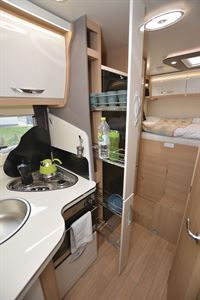 The kitchen in the McLouis Fusion 360 motorhome