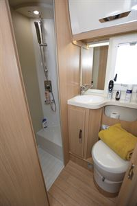 The washroom and shower in the McLouis Fusion 360 motorhome