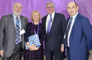Chairman of the British Holiday & Home Parks Association (Scotland), Colin Fraser; BH&HPA Scottish policy director, Jeanette Wilson; Scottish tourism minister Fergus Ewing, and national chairman of BH&HPA, Henry Wild