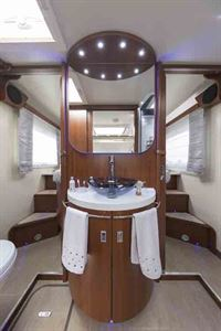 The basin on a plinth in the centre of the motorhome - picture courtesy of Marquis