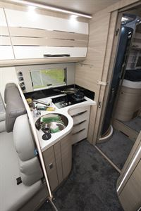 The kitchen in the Mobilvetta Tekno Line K-Yacht 85 motorhome