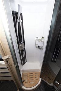 The shower in the Mobilvetta Tekno Line K-Yacht 85 motorhome