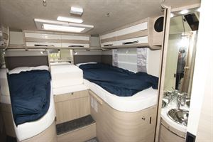 The twin beds in the Mobilvetta Tekno Line K-Yacht 85 motorhome