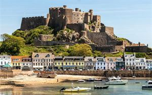 Mont Orgueil Castle and the harbour at Gorey