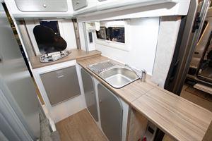 The kitchen in the Murvi Pimento SB campervan