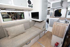 The sofa in the Murvi Pimento SB campervan
