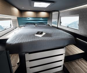 The king sized bed in Niesmann + Bischoff's iSmove motorhome