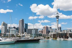 View to Auckland city centre and the Sky Tower from Viaduct Harbour