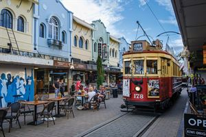 Old tram on New Regent Street in Christchurch