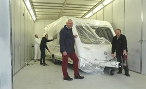 Rob Lynch (left) and Mark Massey in a new spray booth in the body shop at Newport Caravans, part of a £550,000 investment