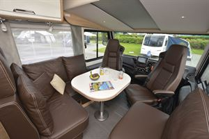 A close up look at the lounge in the Niesmann + Bischoff Flair 830 LE motorhome
