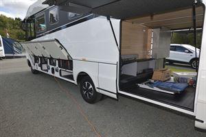 The huge garage in the Niesmann + Bischoff Flair 830 LE motorhome