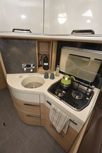 The kitchen in the Niesmann + Bischoff Flair 830 LE motorhome