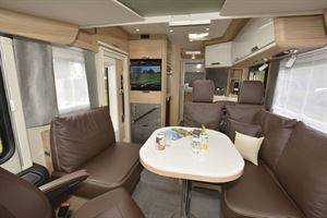 A view of the lounge and the interior of the Niesmann + Bischoff Flair 830 LE motorhome