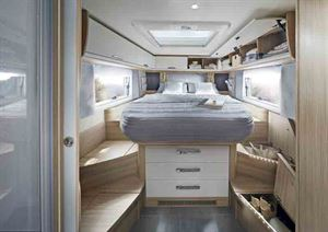 The bedroom, with surrounding storage - picture courtesy of Niesmann
