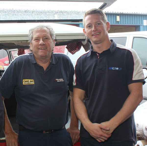 Noisekiller MD Steve Bithell (left) hands over the company reins to son Grant Bithell (right)