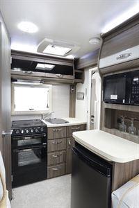 The kitchen in the Auto-Sleeper Nuevo ES motorhome