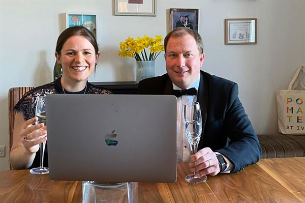 Becki and Phillip Osborne celebrating awards success during the virtual ceremony