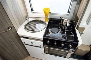 The kitchen in the Benimar Primero 331 motorhome