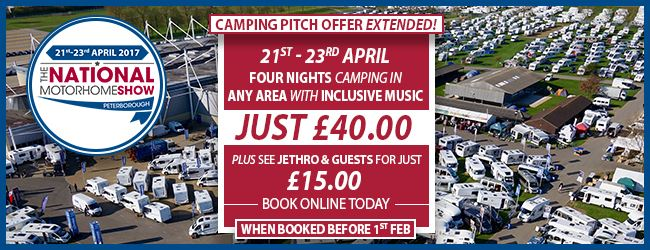 Camping pitch offer extended for The National Motorhome Show, Peterborough