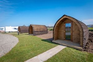 The new camping pods at the Harbour Side Caravan Site, Maryport, Cumbria