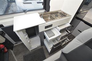 The kitchen in the Pilote Van V600G campervan