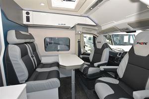 The living area in the Pilote Van V600G campervan