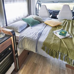 The electric drop down bed in the Pilote Pacific P696D motorhome