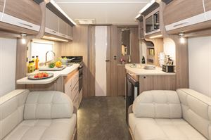 A view of the interior of the Coachman VIP 460 caravan