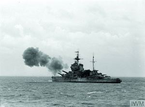 A Royal Navy ship firing on the German defences on D-Day