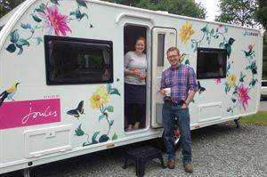 Jo and Simon Wilson with their fab floral prize from Joules at Skelwith Fold in Ambleside
