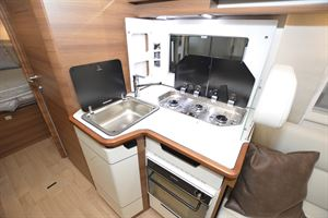The kitchen in the Rapido 8086dF motorhome