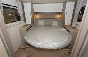 The island bed in the Rapido M96 motorhome