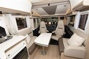The lounge and cab area in the Rapido M96 motorhome