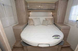 The bed in the 8086dF motorhome