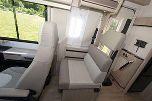 Cab seats in the 8086dF motorhome
